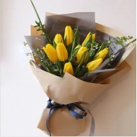 Bright Holland Yellow Tulips Bouquet